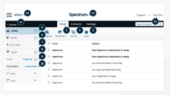 webmail.spectrum.net dashboard